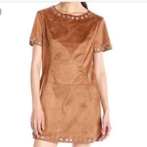 Tan faux suede shift dress